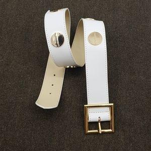CC SKYE Studed White Leather Belt SzS